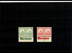 Deutsche Kolonien: 2x Marianen, Unterrand mit Inschrift