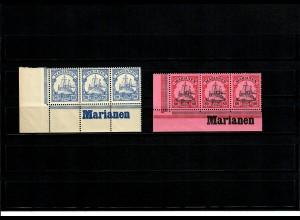 2x Marianen, Eckrand mit Inschrift
