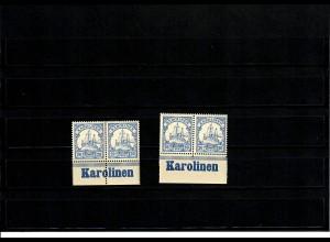 Deutsche Kolonien: 2x Karolinen, Unterrand mit Inschrift