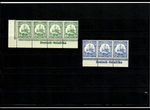 Deutsche Kolonien: 2x DOA, Unterrand/Eckrand mit Inschrift, MiNr. 31,33