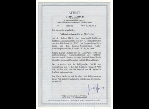 Feldpost Zulassungsmarke Nr. 4, Halbierung, 15.03.1945, BPP Attest