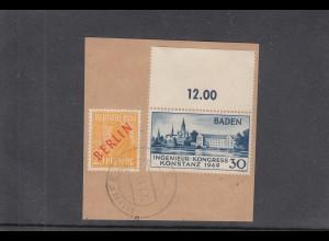 Baden: MiNr. 46II, gestempelt auf Briefstück, Hünfeld. BPP Attest