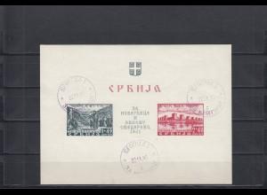 Serbien: Landespost während Besatzung, Block 2, gestempelt