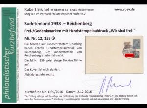 Sudetenland: MiNr. 12 und 136 auf Umschlag, Stempel Reichenberg