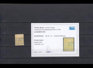 Oldenburg: MiNr. 14: Fournier Fälschung, gestempelt, BPP Befund
