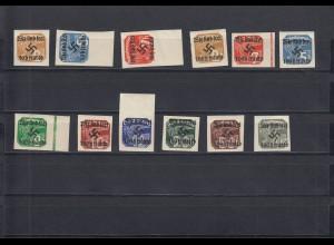 Sudetenland: Rumburg 1938: Zeitungsmarken MiNr. 24-35, postfrisch, BPP Befund