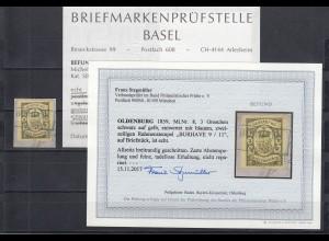 Oldenburg: MiNr. 8 gestempelt Burhave, auf Briefstück, BPP Befund