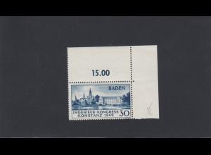 Französische Zone Baden: MiNr. 46 II, Eckrand, postfrisch, BPP Attest