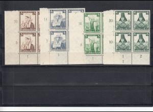 Deutsches Reich: MiNr. 588-597, Eckrand Viererblock, Plattennummer, postfrisch