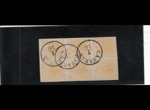 Lombardei-Venetien 1850: Stempel Casara, 6er Block, MiNr. 1a, Sassone 1