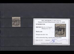 Bremen: MiNr. 12 (Type I), gestempelt, BPP Befund