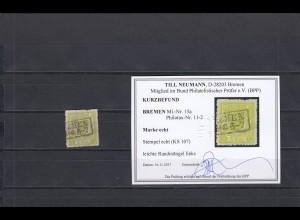 Bremen: MiNr. 15a, gestempelt, BPP Befund