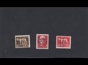 Zara: MiNr. 1I, 15I und 12I, je postfrisch der Type I