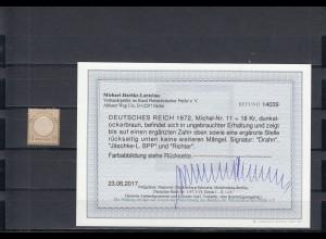 Deutsches Reich: Michel Nr. 11, Falz, BPP Befund
