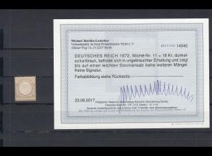 Deutsches Reich: MiNr. 11, Falz, BPP Befund
