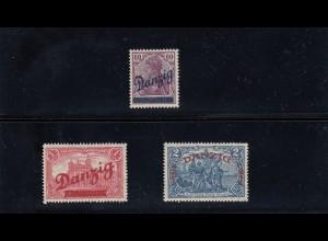 Danzig: MiNr. 47-49, Falz, Bpp Attest