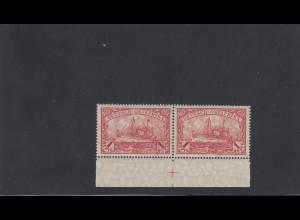 DOA: MiNr. 38, Unterrandpaar mit Passerkreuz und Plattennummer, postfrisch