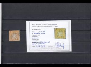 Württemberg: MiNr. 34, gestempelt Grunbach, BPP Befund
