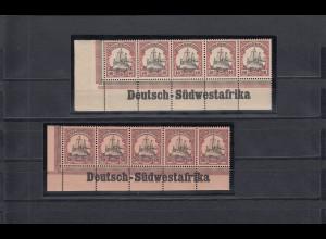 DSWA: MiNr. 17-18, postfrisch, Eckrandstück mit Inschrift, leicht angetrennt