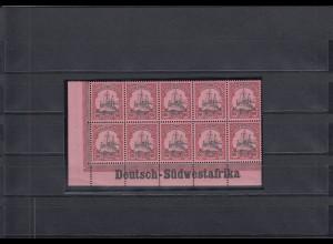 DSWA: MiNr. 19, postfrisch, Eckrandstück mit Inschrift