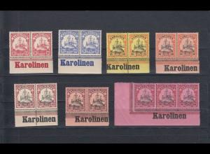 Karolinen: MiNr. 9-15, postfrisch mit Inschrift im Unterrand