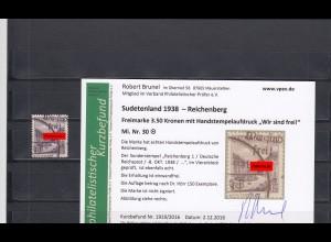 Sudetenland 1938: Reichenberg: MiNr. 30, gestempelt - nur 150x bekannt