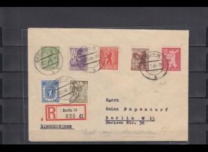 SBZ: MiNr. 1-7B, auf Einschreibebrief, Signatur BPP