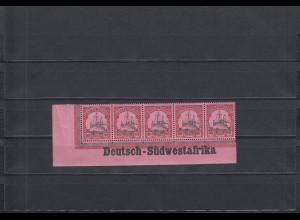 DSWA: MiNr. 19, Eckrandstreifen mit Inschrift, postfrisch