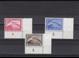 Deutsches Reich: MiNr. 496-498, postfrisch Eckrand mit BPP Attest