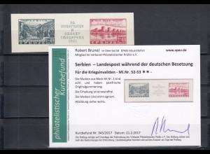 Serbien: MiNr. 52-53, postfrisch, Marken aus Block