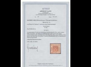 Sachsen: MiNr. 1c, Platte III, Position 7, gestempelt Glauchau, BPP Attest