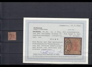 Sachsen: MiNr. 1a, Platte VI, Type 5, gestempelt Leipzig, BPP Attest