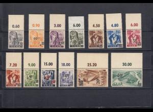Saarland: MiNr. 226I bis 238I, postfrisch vom oberen Bogenrand, Urdruck 1947