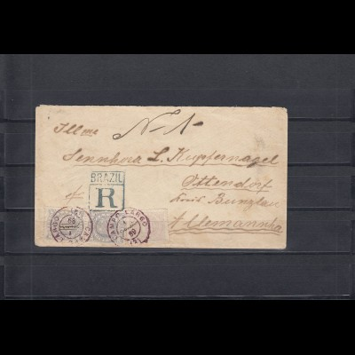 Brazil 1889: registerd cover to Germany, Janeiro-Cortiba, arrival mark. Unusual