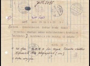 Deutsche Post Türkei 1917: Telegramm Hilfsverein Pera, Stempel Haleb
