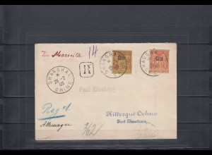 China 1906: Regiistered - Franc Post Shanhai to Germany