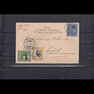 Tonga: 1901: Registered card Tonga Tabu with Natives to Germany