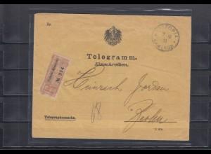 Kamerun 1913: Einschreiben-Telegramm Victoria - Negativstempel nach Berlin, BPP