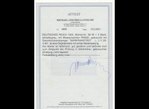 Deutsches Reich: MiNr. 96 W, Stempel Markranstädt, BPP Attest