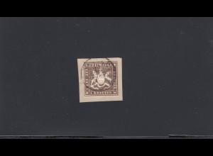 Württemberg: MiNr. 11b, gestempelt auf Briefstück, BPP geprüft
