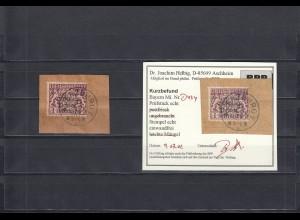 Bayern: MiNr. D43y, gestempelt auf Briefstück, BPP Befund