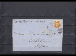 USA 1869: letter via San Francisco over land from Boston to Yokohama/Japan