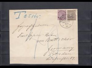 DOA 1896: Seepost-Ost mit Überdruck Zanzibar auf taxiertem Brief nach Potsdam