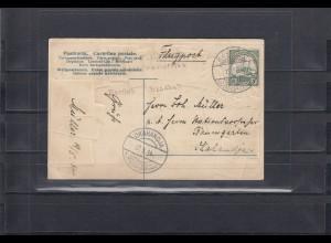 DSWA: Flugpost 1914; MiNr. 25, Entwertung Karibi Windhuk auf Karte, BPP Attest