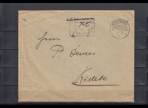 DOA 1916: Brief mit Barfrankierungsstempel Morogoro nach Kidete
