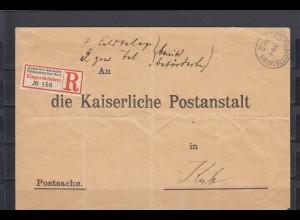 DSWA 1905: Fedpoststation asu Gibeon Maltahöhe auf R-Brief Postsache nach KUB
