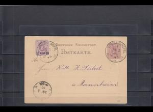 Deutsche Post Türkei 1885: Ganzsache Constantinopel nach Mannheim seltene MiF