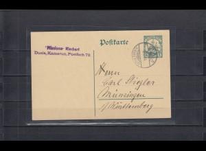 Kamerun 1914: Ganzsache Duala, Missionar, letzte Post mit der Lucia Woermann