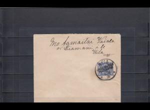 Samoa 1896: Krone/Adler auf Brief aus APIA, Postagentur nach Motamaita Vaiala