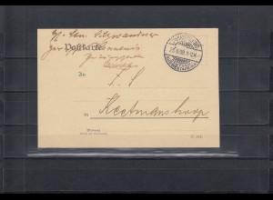 DSWA 1908: Swakopmund, portofreie Postkarte an Zeitungsstelle Keetmanshoop